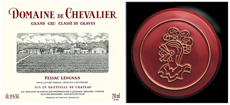 Domaine de Chevalier bottle label and image of the cavaliar on the foil cap